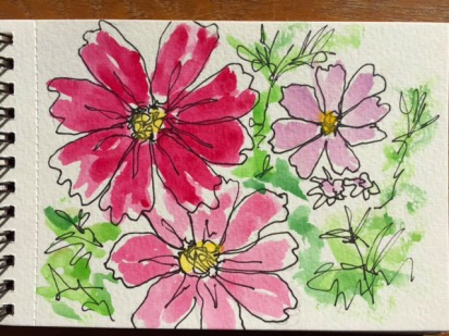 Watercolours & Chalks with pen